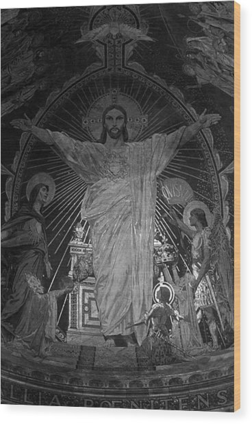 Bw France Paris Sacre Coeur Basilica Dome Jesus 1970s Wood Print by Issame Saidi