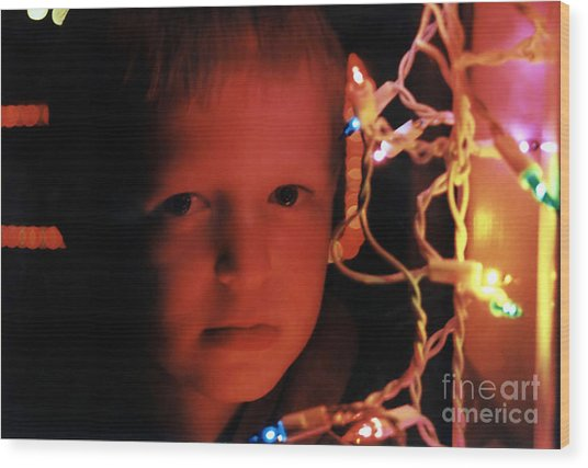 By The Glow Of Christmas Lights Wood Print