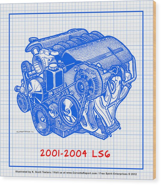 C5 2001 2004 ls6 z06 corvette engine blueprint drawing by k scott c5 2001 2004 ls6 z06 corvette engine blueprint wood print by k scott teeters malvernweather Gallery