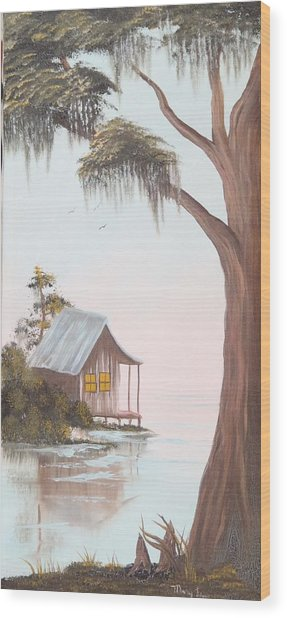 Cabin In The Swamp Wood Print by Mary Matherne