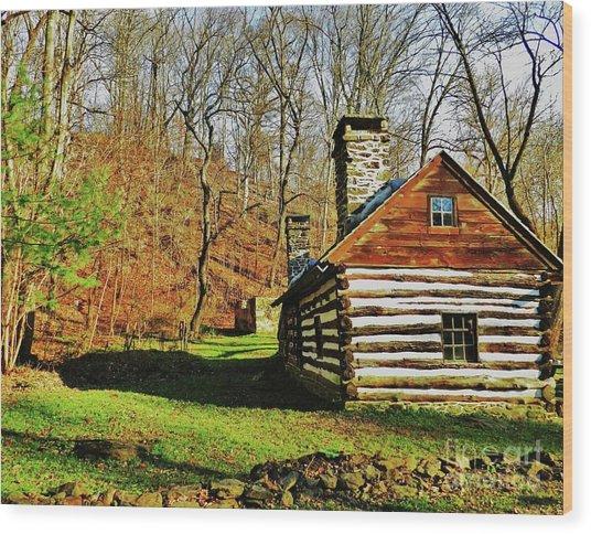 Cabin In The Woods Wood Print by Snapshot Studio