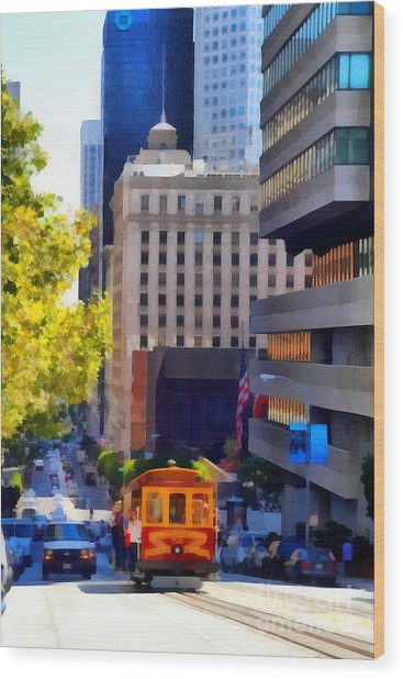 Cablecar On San Francisco California Street  . 7d7176 Wood Print by Wingsdomain Art and Photography
