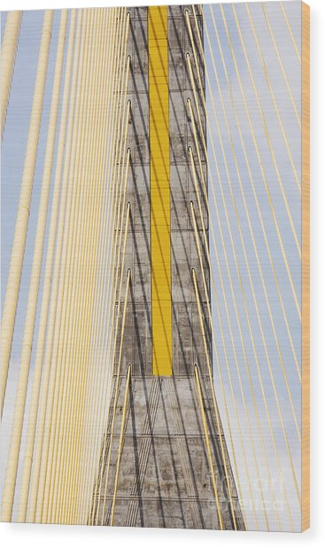 Cables And Tower Of Cable Stay Bridge Wood Print by Jeremy Woodhouse