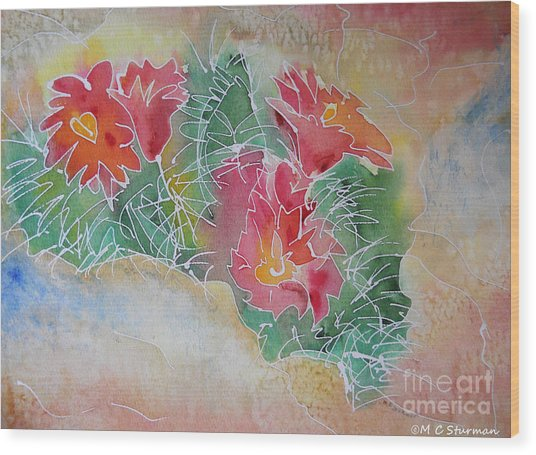 Cactus Art Wood Print by M c Sturman