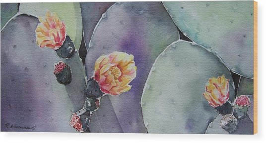 Cactus Bloom Wood Print by Regina Ammerman