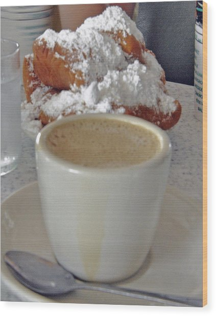 Cafe Au Lait And Beignets Wood Print by Helen Haw