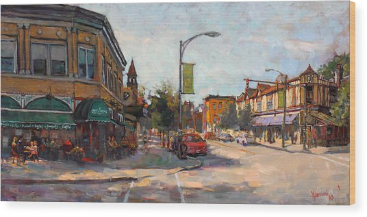Caffe' Aroma In Elmwood Ave Wood Print