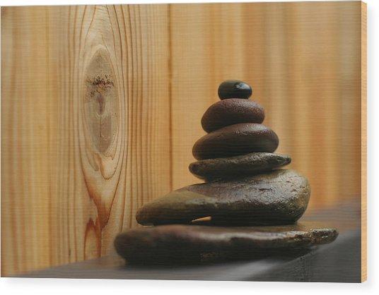 Cairn Meditation Stones Wood Print by Heidi Hermes
