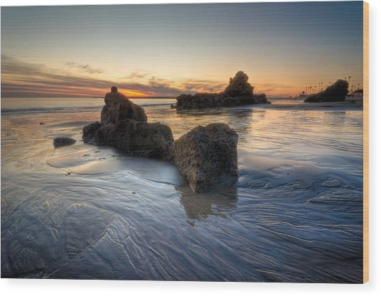 Cali Sunset Wood Print by Brian Leon