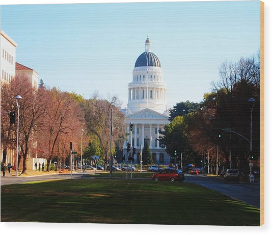 California Capitol Building-3 Wood Print by Barry Jones