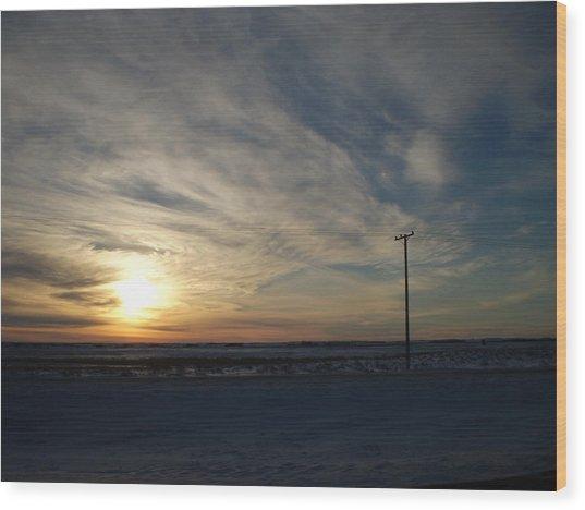 Calm Prairie Sunset Wood Print by Tracy Fallstrom