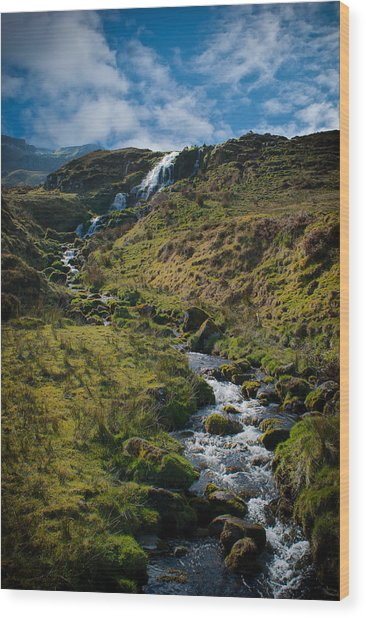 Calmness At The Falls Wood Print