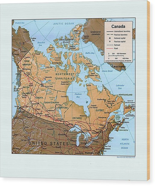 Canada Relief Map Wood Print by Pg Reproductions