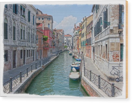 Canals Of Venice Wood Print by Judy Deist