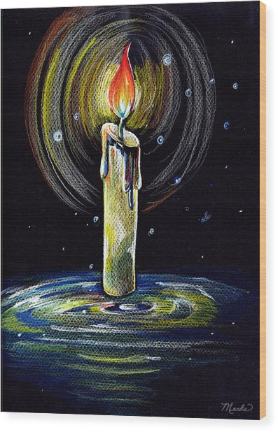 Candel On The Water  Wood Print