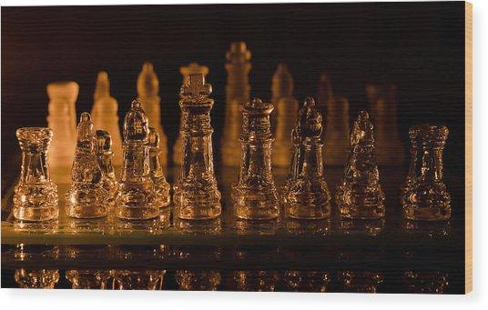 Candle Lit Chess Men Wood Print