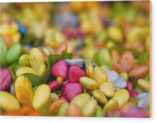 Candy Flowers Wood Print