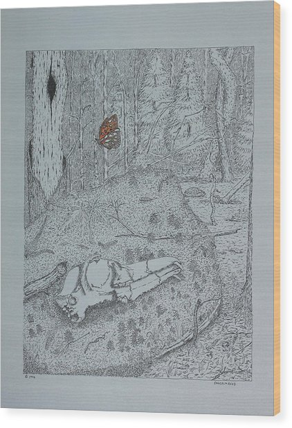 Canine Skull And Butterfly Wood Print