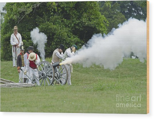 Cannon Fire Wood Print by JT Lewis