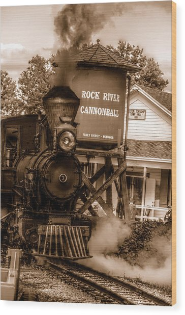 Cannonball Express In Sepia Wood Print