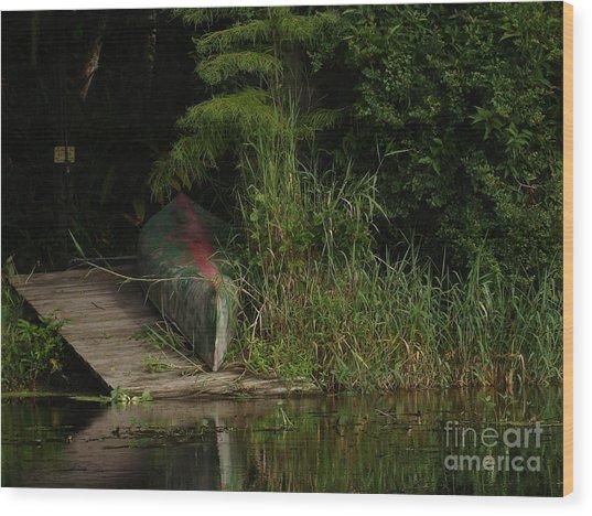 Canoe Green Thumbed Wood Print