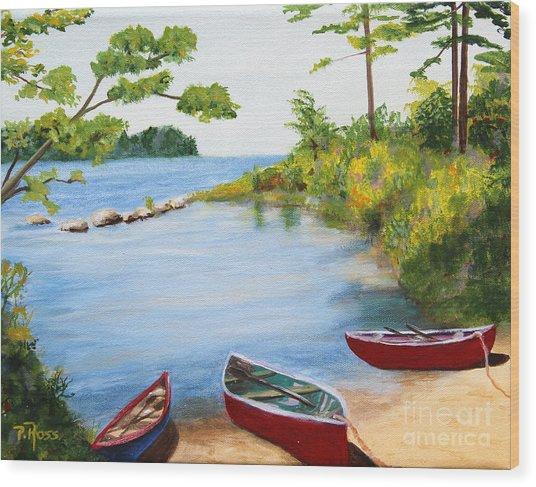 Canoe Inlet Wood Print by Pauline Ross