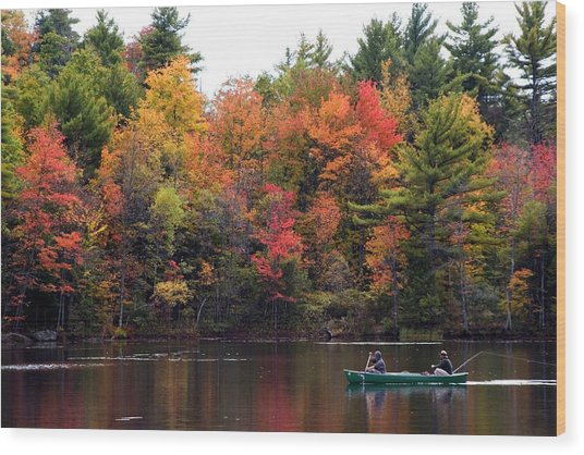 Canoeing In Autumn Wood Print