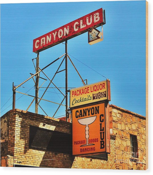 Canyon Club Route 66 Williams Arizona Wood Print by George Sylvia