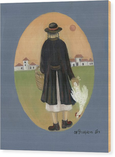 Caparot Rooster Hasid Back View Jewish Religious In Blue Yellow Black Green  Wood Print