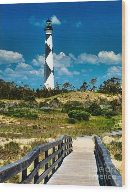 Cape Lookout Light Wood Print