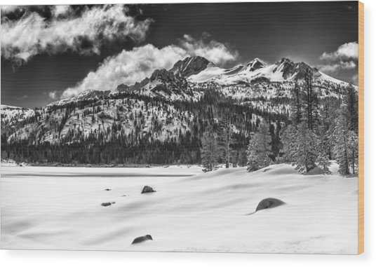 Caples Lake Wood Print by A A