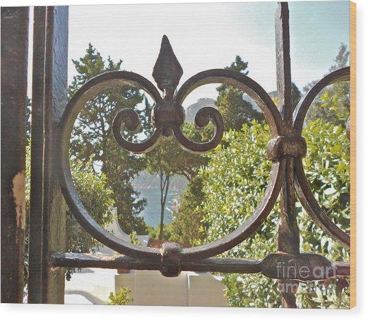 Capri Through Gate Wood Print