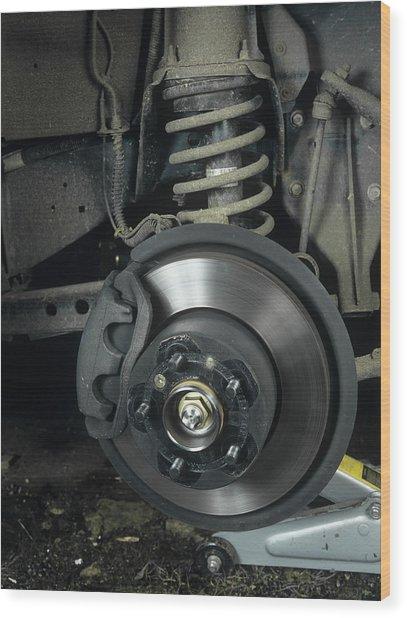 Car Disc Brake Wood Print by Andrew Lambert Photography