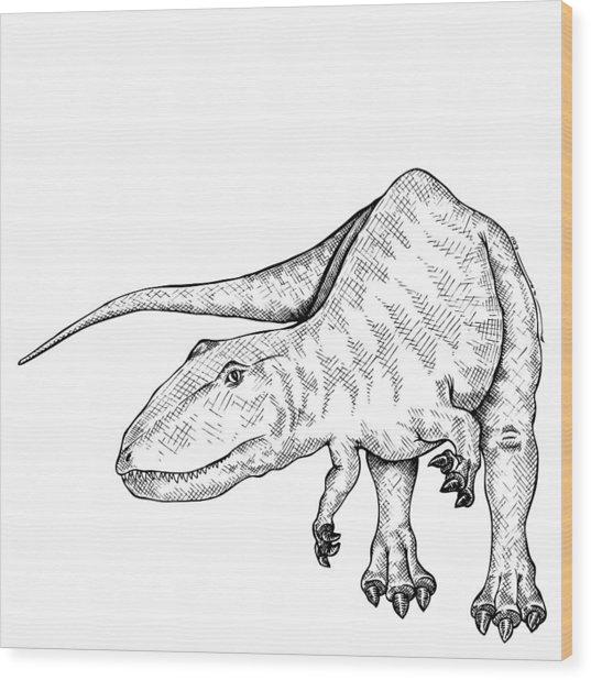 Carcharodontosaurus - Dinosaur Wood Print by Karl Addison