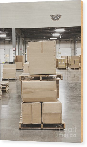 Cardboard Boxes Stacked On Wooden Pallets Photograph by ...