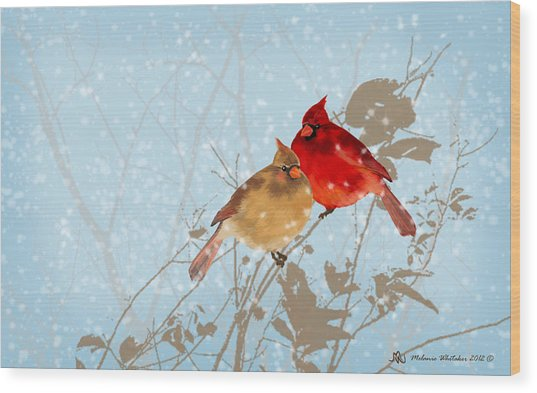 Cardinals In The Snow Wood Print by Melanie Whitaker