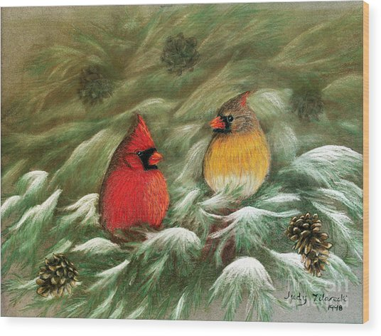 Cardinals In Winter Male And Female Cardinals Wood Print