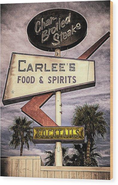 Carlees Food And Spirits Wood Print by Ron Regalado