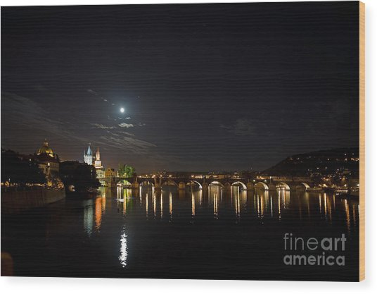 Carls Bridge Prague Wood Print