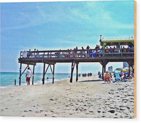 Carolina Beach Tiki Bar Wood Print