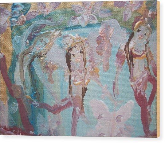 Carpet Fairies Wood Print by Judith Desrosiers