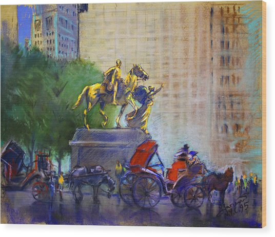 Carriage Rides In Nyc Wood Print