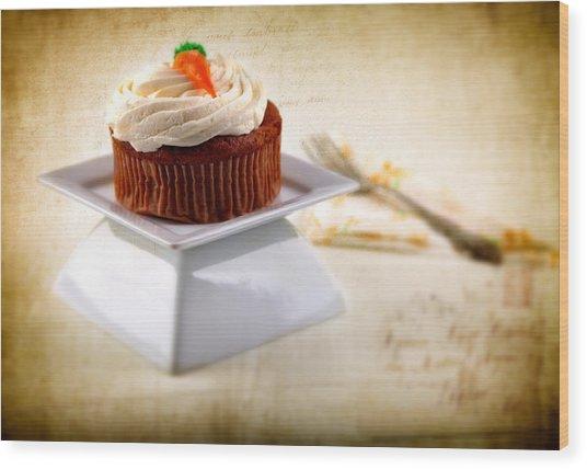 Carrot Cupcake Wood Print