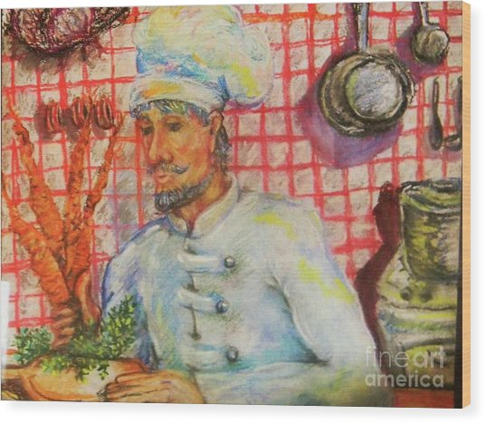 Carrot Soup Chef Wood Print by Emily Michaud