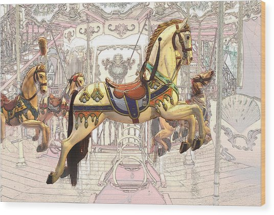 Carrousel With Horses Wood Print