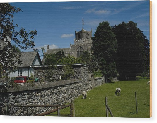 Cartmel Priory From The Causeway Wood Print by Peter Jenkins