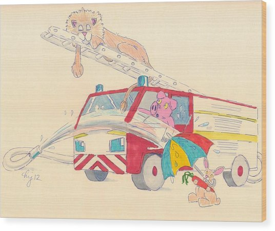 Cartoon Fire Engine And Animals Wood Print