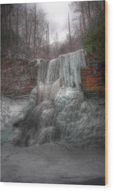 Cascades In Winter 3 Wood Print