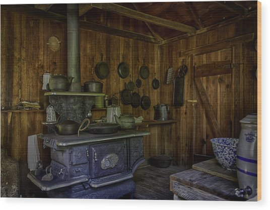 Cast Iron Wood Stove Wood Print