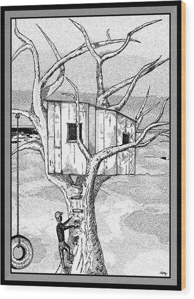 Castle In The Tree - A Childhood Dream Wood Print